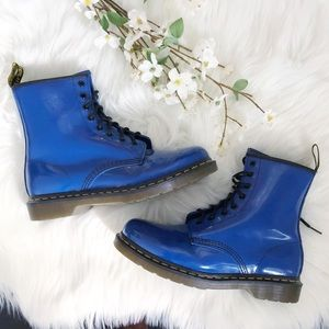 Dr. Martens Patent Blue Boots Air Wair